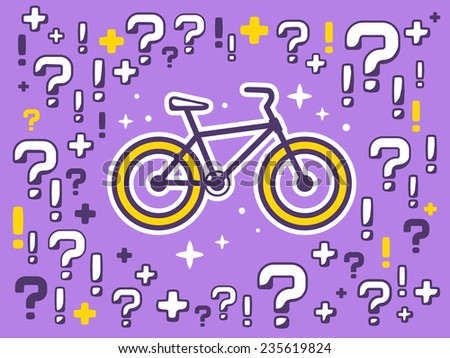 Vector illustration of many questions and exclamation marks around bike on violet pattern background. Line art design for web, site, advertising, banner, poster, board and print. - stock vector