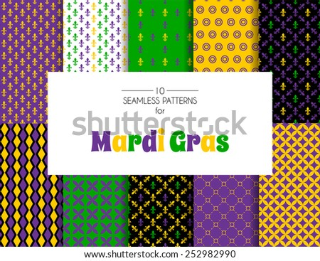 Vector illustration of Mardi Gras pattern backgrounds - stock vector