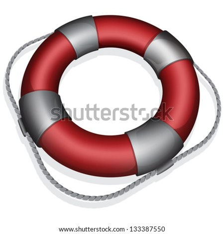 Vector illustration of marines red life buoy
