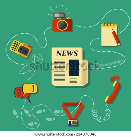 Vector illustration of  Mass media journalism broadcasting news cast concept flat business icons set of paparazzi profession live radio for infographics design web elements  - stock vector