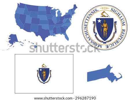 Vector Illustration of Massachusetts state, contains: High detailed map of USA High detailed flag of state Massachusetts High detailed great seal of state Massachusetts State Massachusetts, shape - stock vector