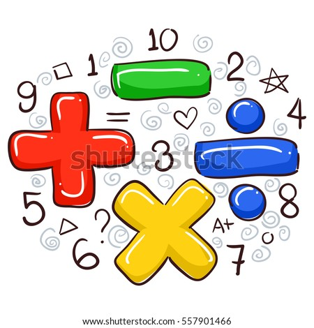 Vector Illustration Math Symbols Numbers Stock Vector 557901466