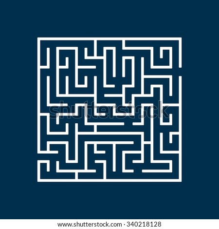 Vector illustration of Maze or Labyrinth isolated on blue background. - stock vector