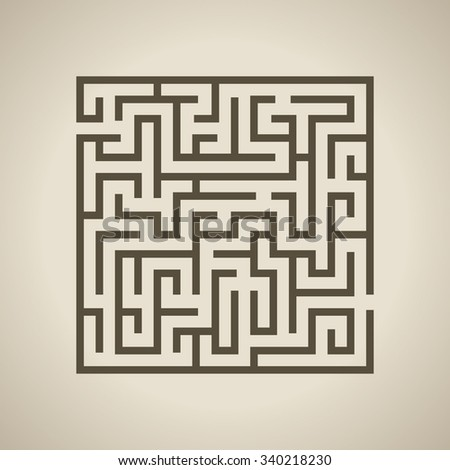 Vector illustration of Maze or Labyrinth isolated on brown background. - stock vector