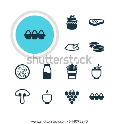 Vector Illustration Of 12 Meal Icons. Editable Pack Of Egg Container, Cruet, Fungus And Other Elements.