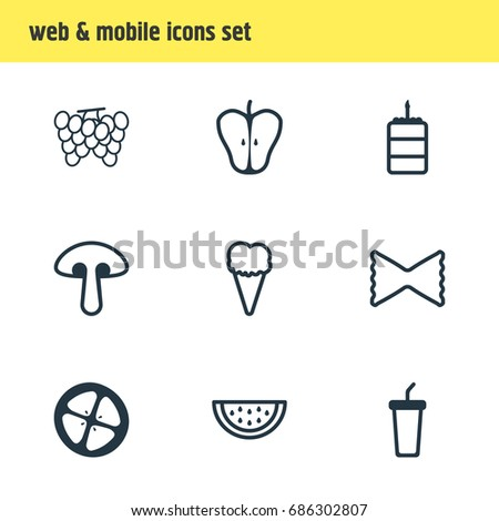 Vector Illustration Of 9 Meal Icons. Editable Pack Of Fungus, Vineyard, Soft Drink And Other Elements.