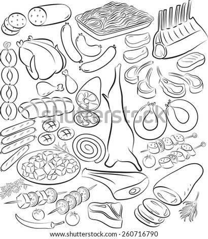 Vector illustration of meat product collection in line art mode - stock vector