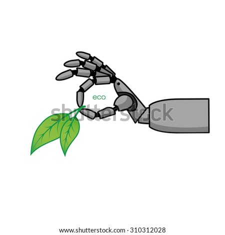 Vector illustration of mechanical arms with leaves. EPS 10. - stock vector
