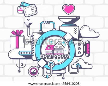 Vector illustration of mechanism to buy home goods and relevant icons on  gray brick pattern background. Icons Products Babies Form Heart Clothes Stock Vector 743943634