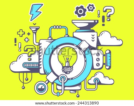 Vector illustration of mechanism to come up with the idea with light bulb and relevant icons on green background. Line art design for web, site, advertising, banner, poster, board and print. - stock vector