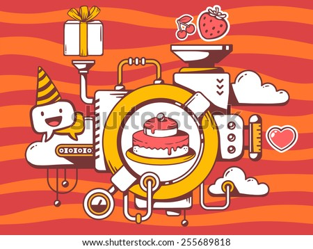 Vector illustration of mechanism to cook cake and relevant icons on red pattern background. Line art design for web, site, advertising, banner, poster, board and print. - stock vector