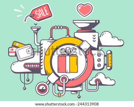 Vector illustration of mechanism to make gift box and relevant icons on green background. Line art design for web, site, advertising, banner, poster, board and print. - stock vector