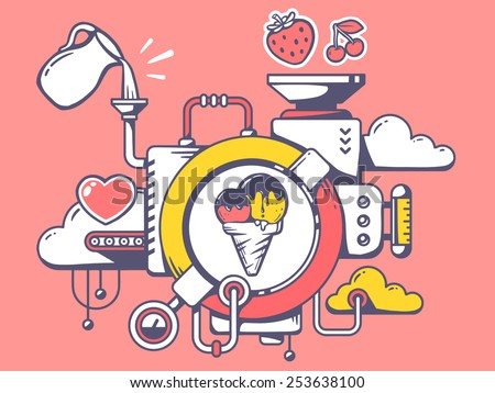 Vector illustration of mechanism to make ice cream and relevant icons on pink background. Line art design for web, site, advertising, banner, poster, board and print. - stock vector