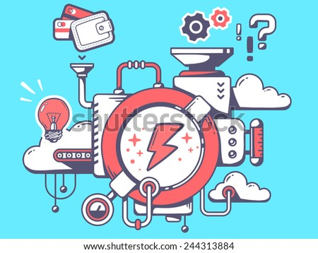 Vector illustration of mechanism to make lightning and relevant icons on blue background. Line art design for web, site, advertising, banner, poster, board and print. - stock vector