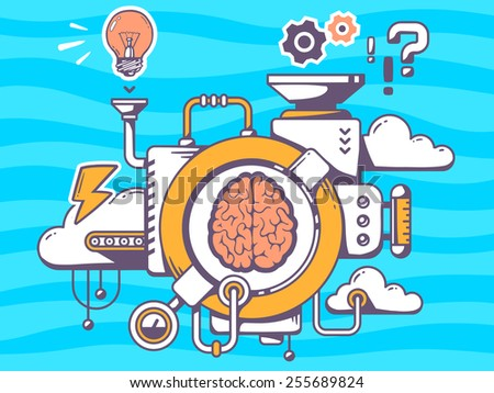 Vector illustration of mechanism to research brain and relevant icons on blue pattern background. Line art design for web, site, advertising, banner, poster, board and print. - stock vector