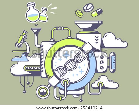 Vector illustration of mechanism to study  dna molecule chain and relevant icons on green background. Line art design for web, site, advertising, banner, poster, board and print. - stock vector