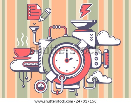 Vector illustration of mechanism with clock and relevant icons on pattern background. Line art design for web, site, advertising, banner, poster, board and print. - stock vector