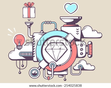 Vector illustration of mechanism with diamond and relevant icons on light background. Line art design for web, site, advertising, banner, poster, board and print. - stock vector