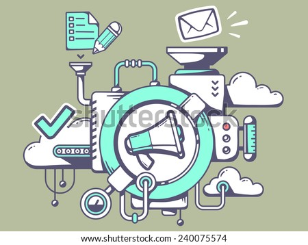 Vector illustration of mechanism with megaphone and office icons on green background. Line art design for web, site, advertising, banner, poster, board and print. - stock vector