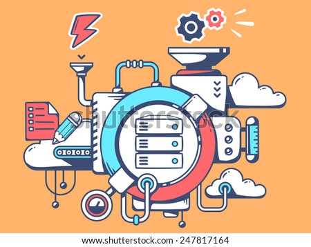 Vector illustration of mechanism with work server and relevant icons on orange background. Line art design for web, site, advertising, banner, poster, board and print. - stock vector