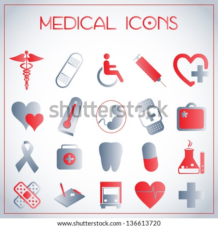 Vector illustration of medical icons on white-grey background - stock vector