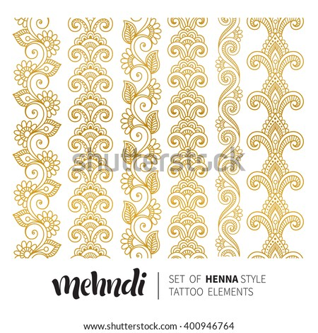 Vector illustration of mehndi pattern, set of seamless borders. Traditional indian style, ornamental floral elements for henna tattoo, golden stickers, flash temporary tattoo, mehndi and yoga design - stock vector