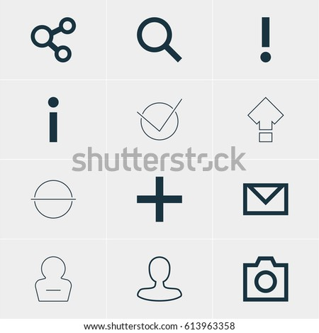 Vector Illustration Of 12 Member Icons. Editable Pack Of Plus, Seek, Publish And Other Elements.