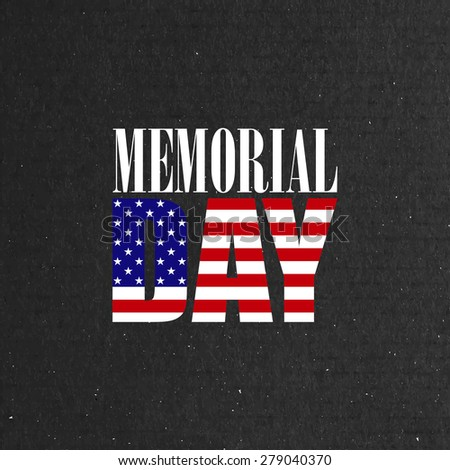 vector illustration of Memorial Day label on the cardboard background - stock vector