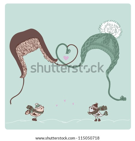 Vector illustration of men and women hats, bird lovers and place for text. Valentine card or Christmas card. - stock vector