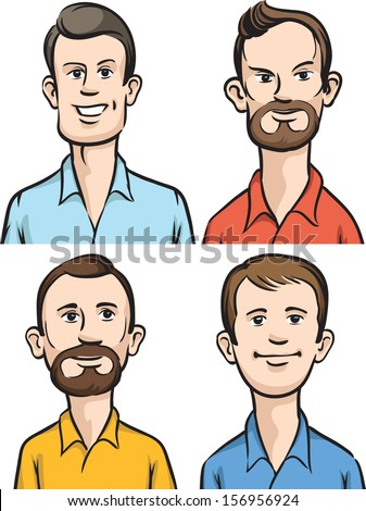 Vector illustration of Men cartoon portraits. Easy-edit layered vector EPS10 file scalable to any size without quality loss. High resolution raster JPG file is included. - stock vector