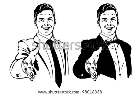 Vector illustration of men offering a solid handshake. - stock vector