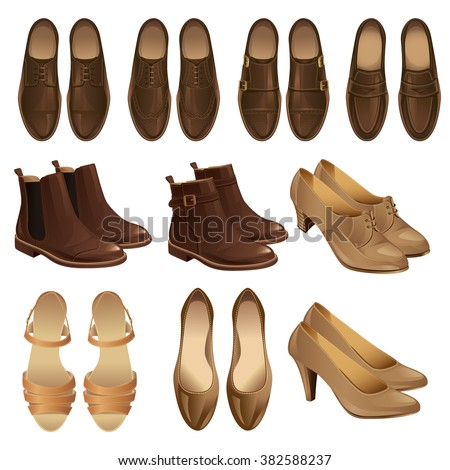 Vector illustration of men's and women's brown shoes.
