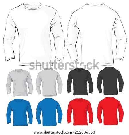 Vector illustration of men's long sleeved t-shirt template in many color, front and back design - stock vector