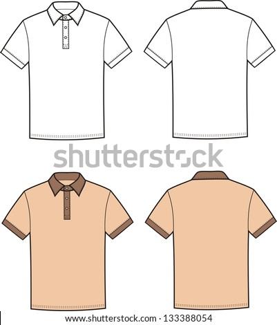 Vector illustration of men's polo t-shirt. Front and back views - stock vector