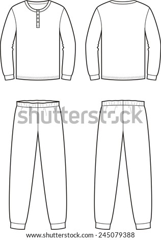 Vector illustration of men's sleepwear. Jumper and pants. Front and back views - stock vector