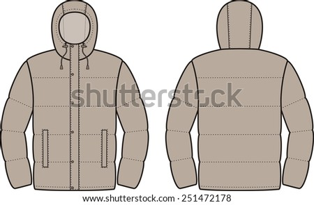 Vector illustration of men's winter down jacket. Front and back views - stock vector