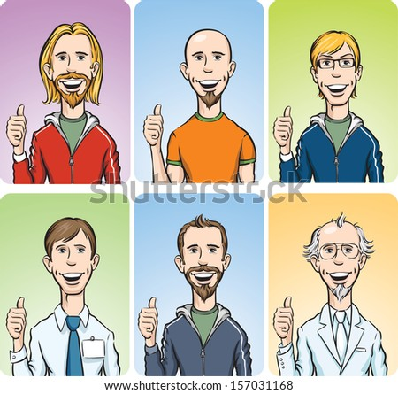 Vector illustration of men showing thumb up. Easy-edit layered vector EPS10 file scalable to any size without quality loss. High resolution raster JPG file is included. - stock vector