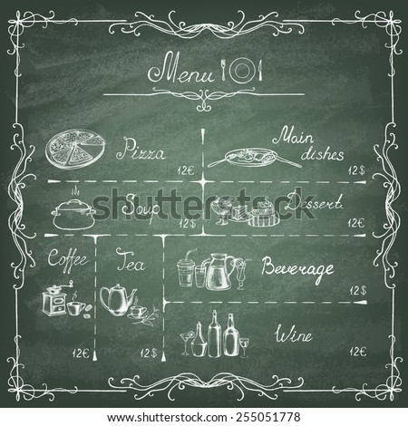 Vector illustration of menu written  on the green blackboard. Retro vintage style. - stock vector