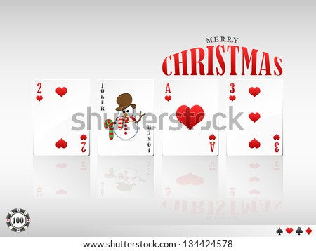 vector illustration of 2013 Merry Christmas greeting in poker design with cards (spades / hearts / clubs / diamonds version available in my portfolio) - stock vector