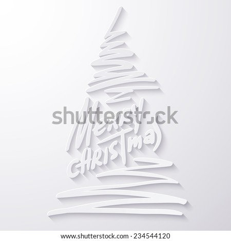 Vector illustration of Merry christmas lettering. 2015 xmas text and image of fir for your design. White paper applique with shadow.  - stock vector