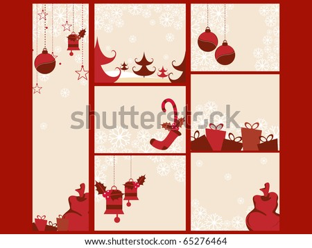 Vector Illustration Of Merry Xmas And Happy New Year Collection - stock vector