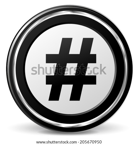 Vector illustration of metal hashtag icon on white background - stock vector
