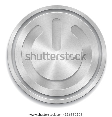 Vector illustration of metal rounded button with power sign. EPS 10 - stock vector