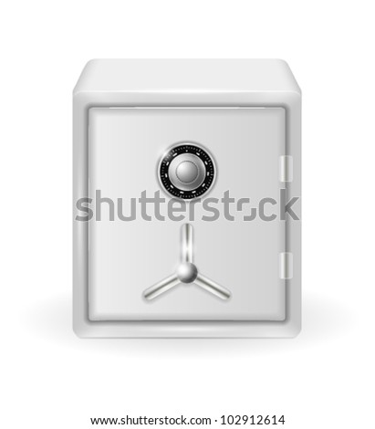 vector illustration of metal safe with combination lock on white background