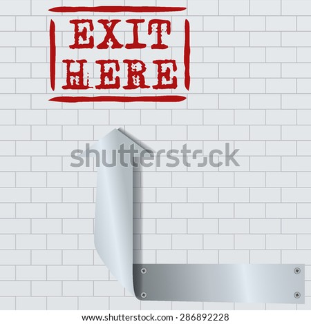 Vector illustration of metal silver arrow on brick seamless background - stock vector