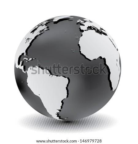 Vector illustration of metallic world globe. - stock vector