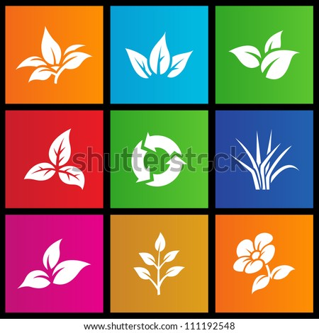 vector illustration of metro style leaves and flower - stock vector
