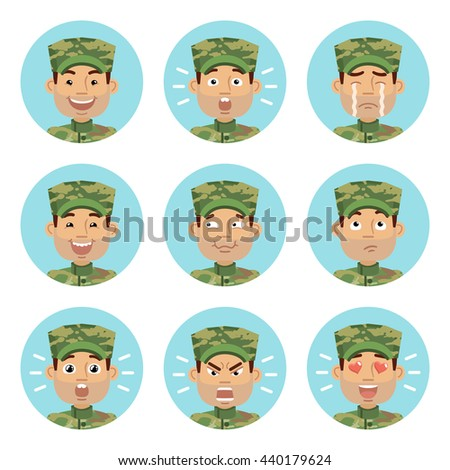Vector illustration of military man avatars showing different emotions