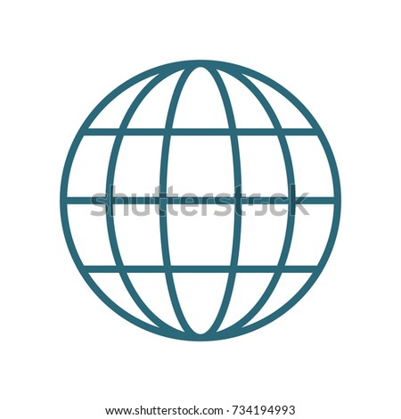Vector Illustration Of Minimal Globe With Lines Isolated On White.