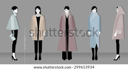 Vector illustration of minimalistic fashion for women - stock vector